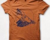Mens Tshirt, Lucky Kingfisher, Screenprinted Shirt, Flying Bird, Graphic Tee - Rust