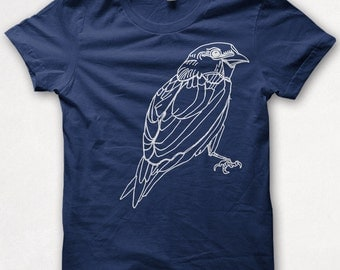 Womens Tshirt, Screenprinted, Bird Shirt, Sparrow, Graphic Tee - Navy