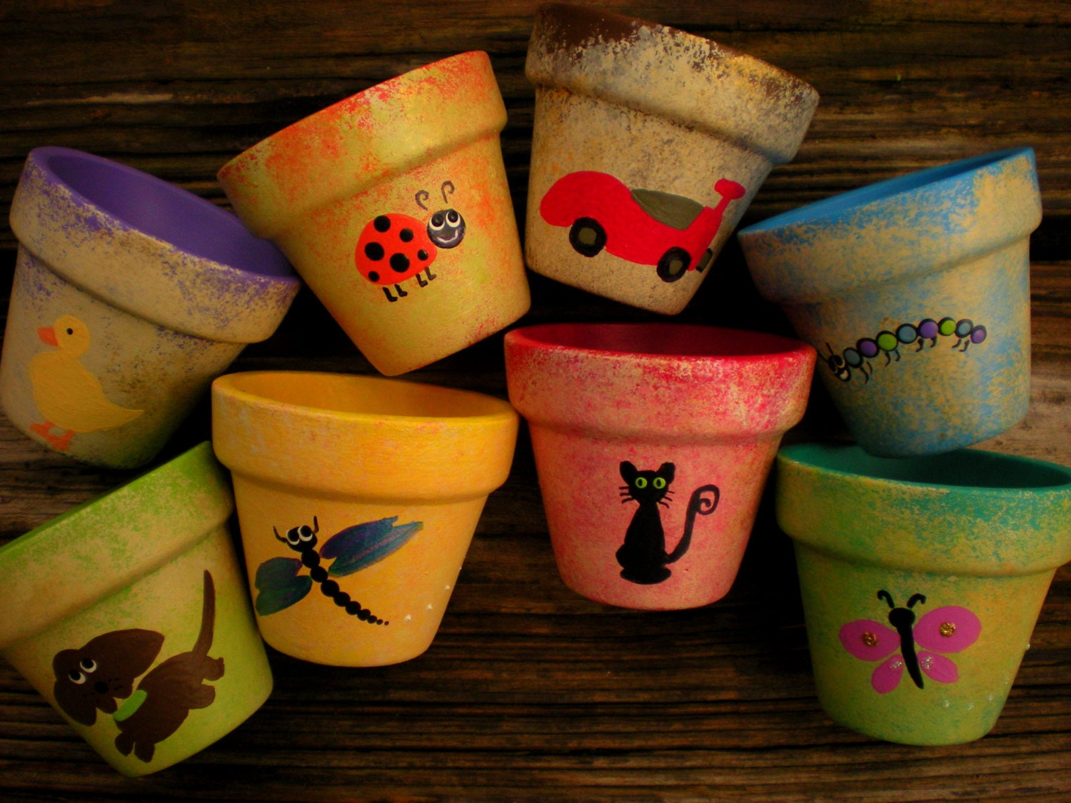 Small flower pots hand painted pots kids party favors for Small clay flower pots