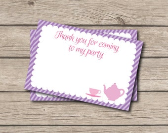 Tea Party Thank You Note - Pink & Purple Tea Thank You Card - Digital Printable Thank You - Tea Party - Teapot Thank You Note