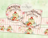 Labels Shabby Chic Strawberry Cupcakes - Set of 2 Printable Sheet - digital Labels - digital Tags