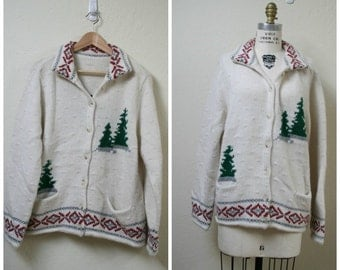 Vintage 1970s Thick wool Ski lodge sweater size M