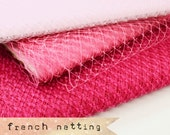 Shades of Pink - French Netting - Millinery Hat Veiling, birdcage veil, feather fascinator.