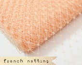 PEACH - French Netting - Millinery Hat Veiling, birdcage veil, feather fascinator.