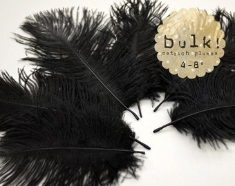 BLACK - BULK - 4-8 inches - 100 pcs Ostrich Feathers Drabs - Wholesale Feathers