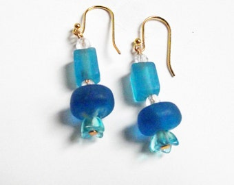 Sea Glass Earrings, Turquoise, color of the sea