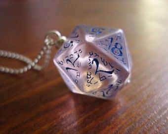 dice jewelry elf dice pendant elvish d20 dice rgp larp see through blue inscriptions elvish runes transparent tolkien fantasy pathfinder