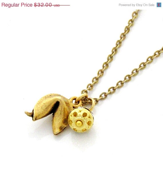 SALE Fortune Cookie Necklace Lucky Necklace Rhinestone Necklace Gold Charm Necklace Good Luck Whimsical - Lucky