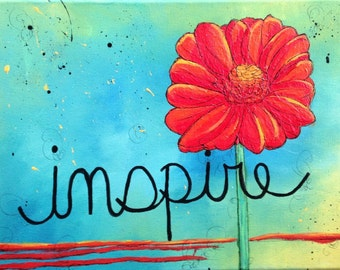 "Original Acrylic Painting on 12x16 Canvas - Painting Home Decor Artwork - Folk Art - ""Inspire"""
