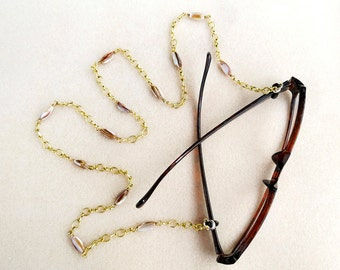 Golden Eyeglass Chain with Wire Wrapped Beige Shells on Satin Gold Chain, Handmade Jewelry, Eyeglass Necklace for Reading or Sun Glasses