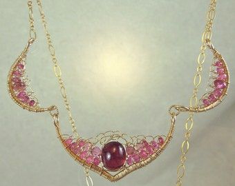 Pink tourmaline crocheted necklace