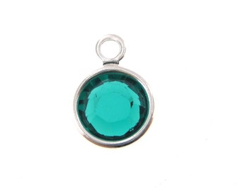 6mm Emerald Rhodium Plated  Swarovski Crystal Channel Charm - May Birthstone 10 pcs lowest price