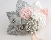 Boutonniere, Brooch, Button Hole, Corsage, Groom, Groomsmen, Mother of the Bride, Silver, Blush, Pink, White, Pearls, Crystals, Elegant