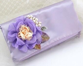 Clutch, Lilac, Peach, Silver, Purple, Elegant Wedding, Bridal, Handbag,Purse, Garden Wedding,Bridesmaids,Maid of Honor, Satin Clutch, Pearls