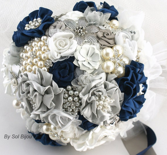 Navy Blue And White Wedding Bouquets : Brooch bouquet navy blue white gray silver vintage