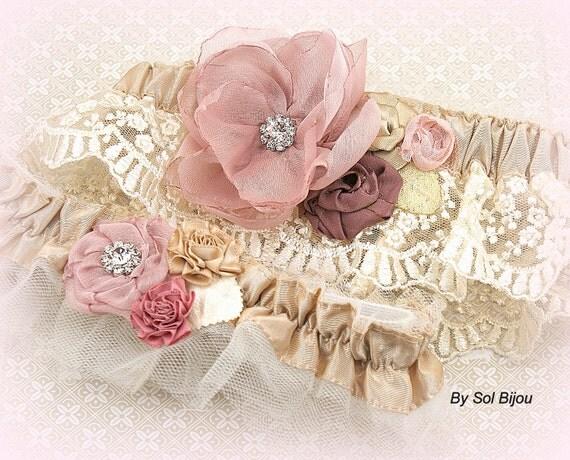 Garter, Dusty Rose, Rose, Gold, Champagne, Bridal, Elegant Wedding, Vintage Style, Garter Belt, Toss, Crystals, Lace, Pearls