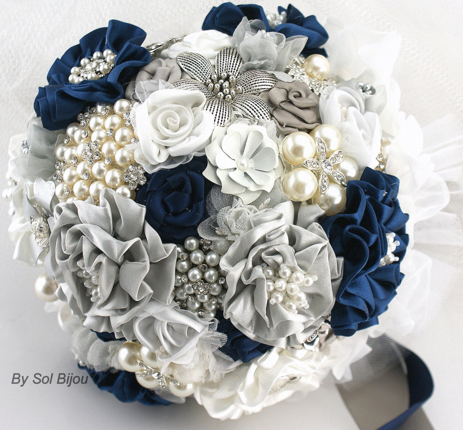Navy Blue And Silver Wedding Ideas: Brooch Bouquet Navy Blue Blue White Gray Silver Vintage