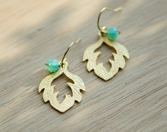 Opal earrings, Gold earrings, Gold filled earrings, feather earrings, mint earrings, green earrings, dangle earrings, aqua
