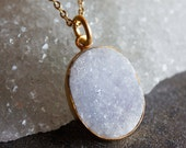 Gold Soft Grey Oval Agate Druzy Necklace - Hints of lilac