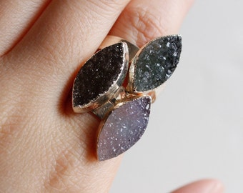 Small Druzy Leaf Rings - Marquise Shape Stone - Adjustable Druzy Rings, Gifts Under 30
