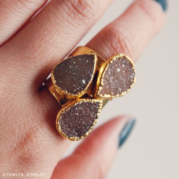 Gold Brown Sugar Druzy Rings Teardrop Druzy Rings By Ohkuol. Roq Rings. Heart Shape Rings. Baking Rings. Jewelry Hawaiian Wedding Rings. Timber Rings. Oxidized Rings. Raspberry Wedding Rings. Teardrop Engagement Engagement Rings