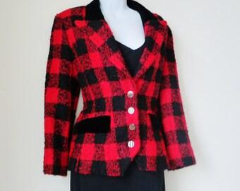Buffalo Plaid - Wool Designer Jacket - Red Black - Louis Feraud - High Fashion - Sz 6 - French - Blazer - 80s - Equestrian -Recycled -UNIQUE