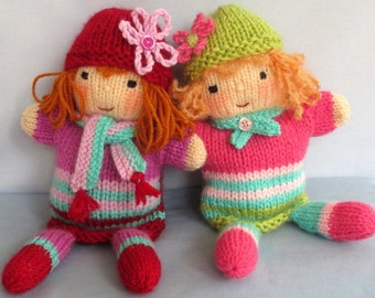 Ruby and Rose hand puppets knitting pattern - INSTANT DOWNLOAD glove puppet dolls