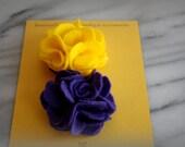 Felt Flower hair Clip, Purple & Gold, ECU PIRATES, gifts for her, by ktnunna