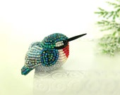 Hummingbird Figurine Miniature Beaded Ruby Throated Bird Animal Totem *READY TO SHIP