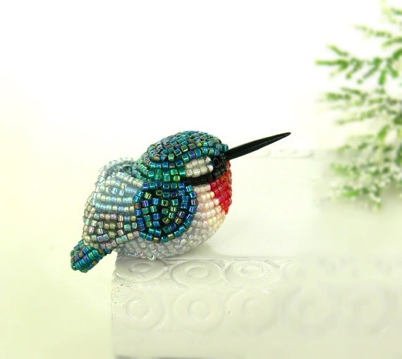 Hummingbird Miniature Figurine Beaded Bird Animal Totem *READY TO SHIP