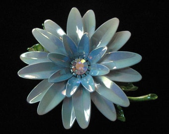 Blue Enamel Flower Power Brooch with Rhinestone