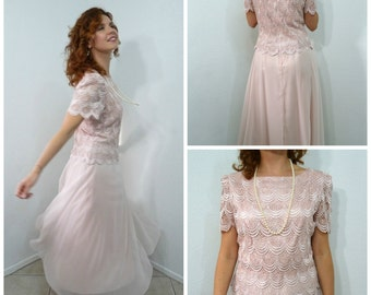 Vintage 80s Pastel Pink Lace Dress by After Dark Sheer Bridesmaid Dress, Wedding Party Small