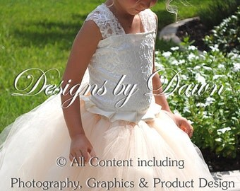 Ivory & Champagne lace flower girl dress! Mini Bride. Corset, skirt, train, hair piece. Customize your colors! Size 6m-12 girls.