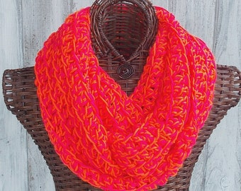 SALE Neon infinity scarf, crocheted scarf in neon pink and neon orange, circle scarf fashion accessory for women