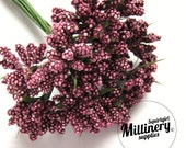 Burgundy Bobble Bud Flower Picks / Stamens for Millinery, Corsages & Boutineers Bunch of 12
