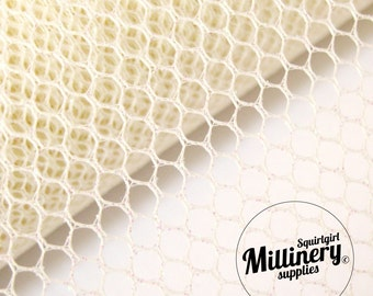 Glitter Mesh Netting Fabric Ivory 45cm (17.7 Inches) Wide for Fascinators, Millinery & Wedding Craft 1 Metre