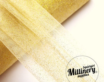 Gold Glitter Tulle Netting Fabric for Fascinators, Millinery & Wedding Craft 1 Yard