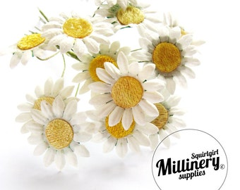 12 Miniature White Paper Daisy Wired Flowers for Millinery and Tiara Making