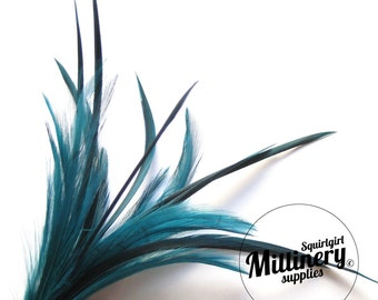 Goose Biot & Hackle Feather Hat Mount Trim for Fascinators, Wedding Bouquets and Hat Making Teal