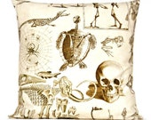 Halloween Pillow Cover Skeleton Reptiles Spiders Dinosaurs Beige Brown Decorative Repurposed 18x18 - PookieandJack