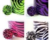 Zebra Print Duct Tape Rose Ring - You Choose White, Pink, Green, or Purple