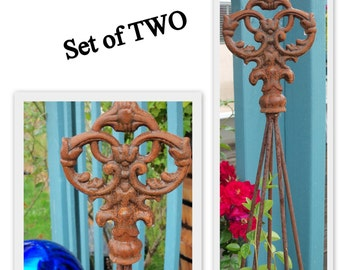 TWO-Classic Trellis Tower All Metal Five Foot Tall with CROWN DELUXE Finial Topper