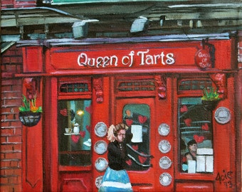 Dublin Pub - 10x8in Original Red Oil Painting