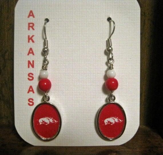 Arkansas Razorback Earrings, University of Arkansas,  Pierced or Clip On