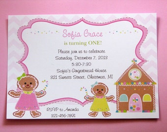 Cookie Decorating Party Invitations, Gingerbread Birthday Invitations, Gingerbread Girl, Chevron