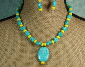American Blue Gemstone Turquoise and Yellow Turquoise .925 Sterling Silver Necklace and Earrings