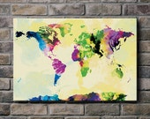 Watercolor World Map - 12x18 Canvas Print (multiple color options)