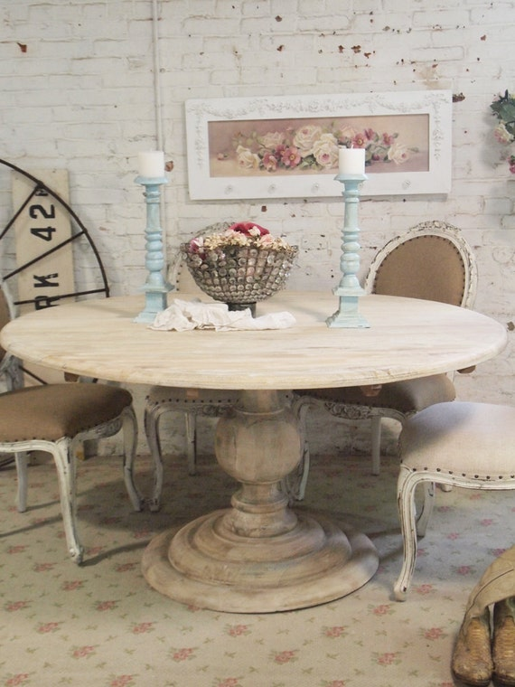 Painted Cottage Chic Shabby French Linen Round Dining Table