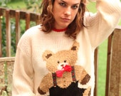 No Cuter Than You .Kitschy sweater with Chippendales Teddy Bear wearing suspender shorts and bow tie & gold buttons medium