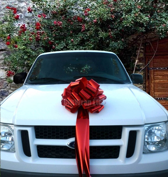 Big Metallic Red Bow Christmas Tree Topper Car Gift Store